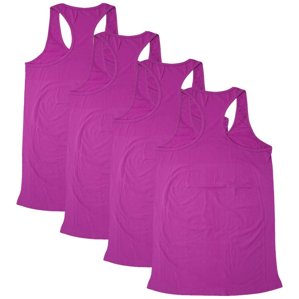 Tops Yoga Gym, BollyQueena Women's Camisole Tanks For Women 4 Packs Purple L