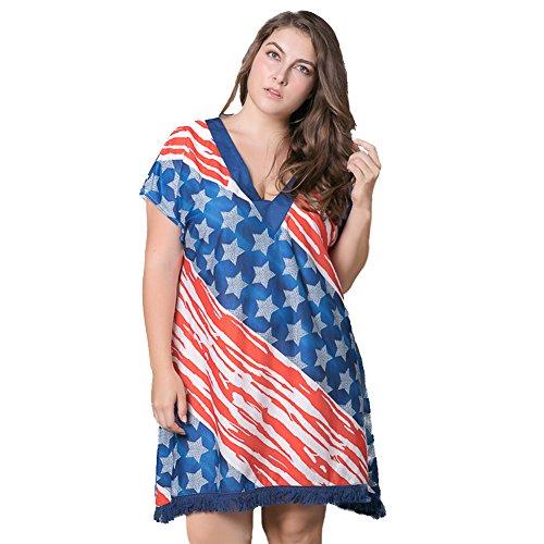 Felove-4th-July-Womens-American-Flag-Off-Shoulder-Tassle-Dress-Plus-Size