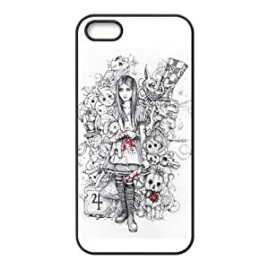 Custom Freehand Cartoon Girl Design TPU Case Protector For Iphone 5 5S