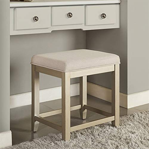 Crosley Furniture CF7007GL-CR Vista Vanity Stool, Distressed Gold with Crème Linen Seat
