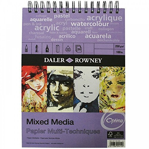 Daler Rowney - Mixed Media Spiral Sketchpad - 250gsm - 30 Pages - A4 Portrait - Made in England 437 150 400