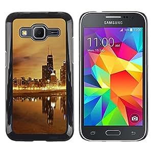 Be Good Phone Accessory // Dura Cáscara cubierta Protectora Caso Carcasa Funda de Protección para Samsung Galaxy Core Prime SM-G360 // Night Beige Gold Nyc Wtc