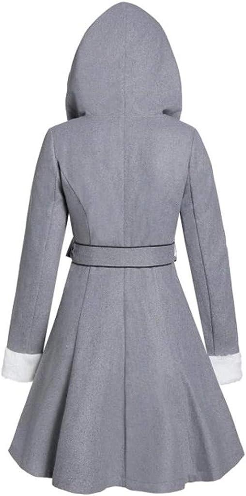 Fanteecy Womens Hooded Fleece Jackets Warm Winter Coats with Faux Fur Lined Outwear Trench Coat Cardigan with Belts