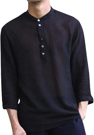Camisas de Lino y algodón para Hombre, Talla Grande, Manga 3/4, con Botones en la Parte Superior, Cuello en V Retro, Ajuste Casual: Amazon.es: Electrónica