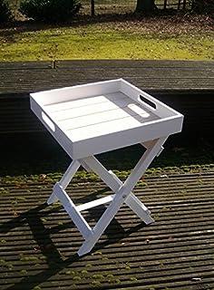 Praktischer Tablett Tisch, Beistelltisch, Ablagetisch Holz Weiss 36 Cm