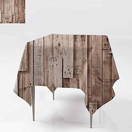 Spill-Proof Table Cover,Wooden,Vintage Barn Shed Floor Wall Planks Sepia Art Old Natural Plywood Lodge Image Print,Party Decorations Table Cover Cloth,50x50 Inch Grey Brown