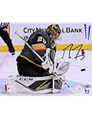 """Marc-Andre Fleury Vegas Golden Knights Autographed 8"""" x 10"""" Black Jersey Making Save Photograph - Fanatics Authentic Certified"""