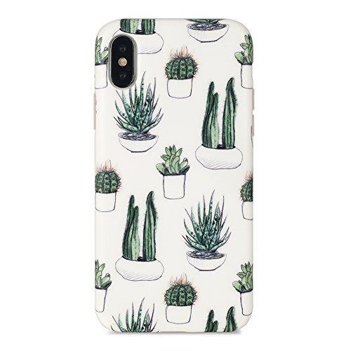 iPhone X case, Sankton Slim-Fit Anti-Scratch Shock-Proof Anti-Finger IMD Soft TPU cover with Design Pattern for iPhone X 2017 (Cacti)