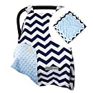 5 Colors - Car Seat Canopy by CRAZZIE with Matching Soft TAGZ Blanket (Navy Zigzag Blue Minky with TAGZ Blanket)