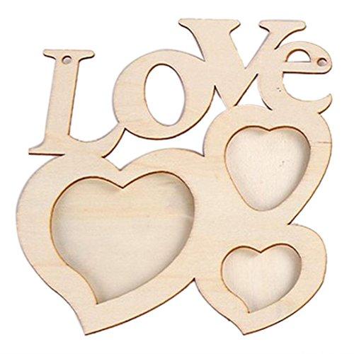 Hunputa Hollow Love Wooden Family Photo Picture Frame Rahmen(wood color) Base Art DIY Home Decor