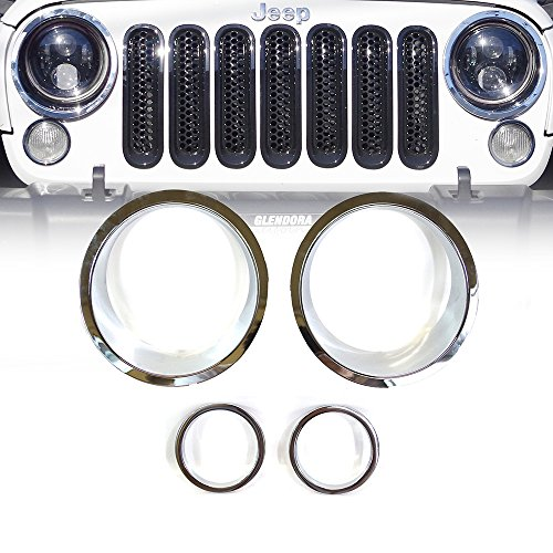 Xprite Chrome Silver Front Bezel Cover For Headlight and Turn Signal Light 2007 - 2017 Jeep Wrangler JK & JK Unlimited (4 Piece Set)