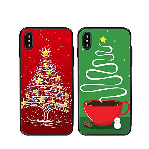 iPhone X Christmas Couple Cases,TTOTT 2X Christmas Gift Floral New Fashion Red Christmas Tree Slim Bumper Anti Scratch Shockproof Matching Couple Christmas Cases for iPhone 10 5.8-inch
