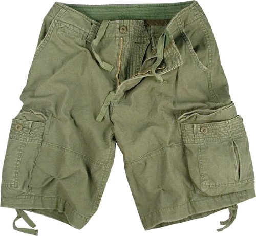 Olive Drab Infantry Vintage Military Cargo Utility Shorts, Medium