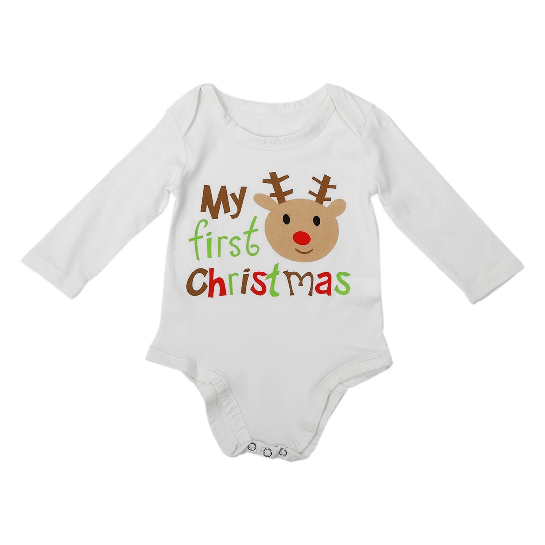 SODIAL(R) Romper Maillot de corps Vetements en une seule piece Combinaison en Theme: Mon premier Noel Combinaison en motif de cerf pour les bebes - blanc Taille:0-3 mois