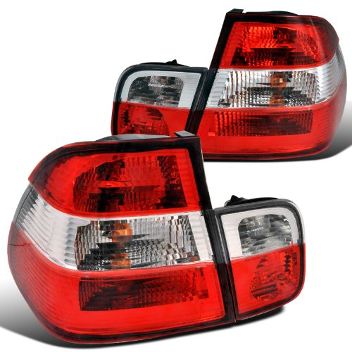 Spec-D Tuning LT-E464RPW-APC Bmw E46 4Dr 320I 328I Red Clear Chrome Tail Lights Trunk Lamps (E46 Tail Lights)