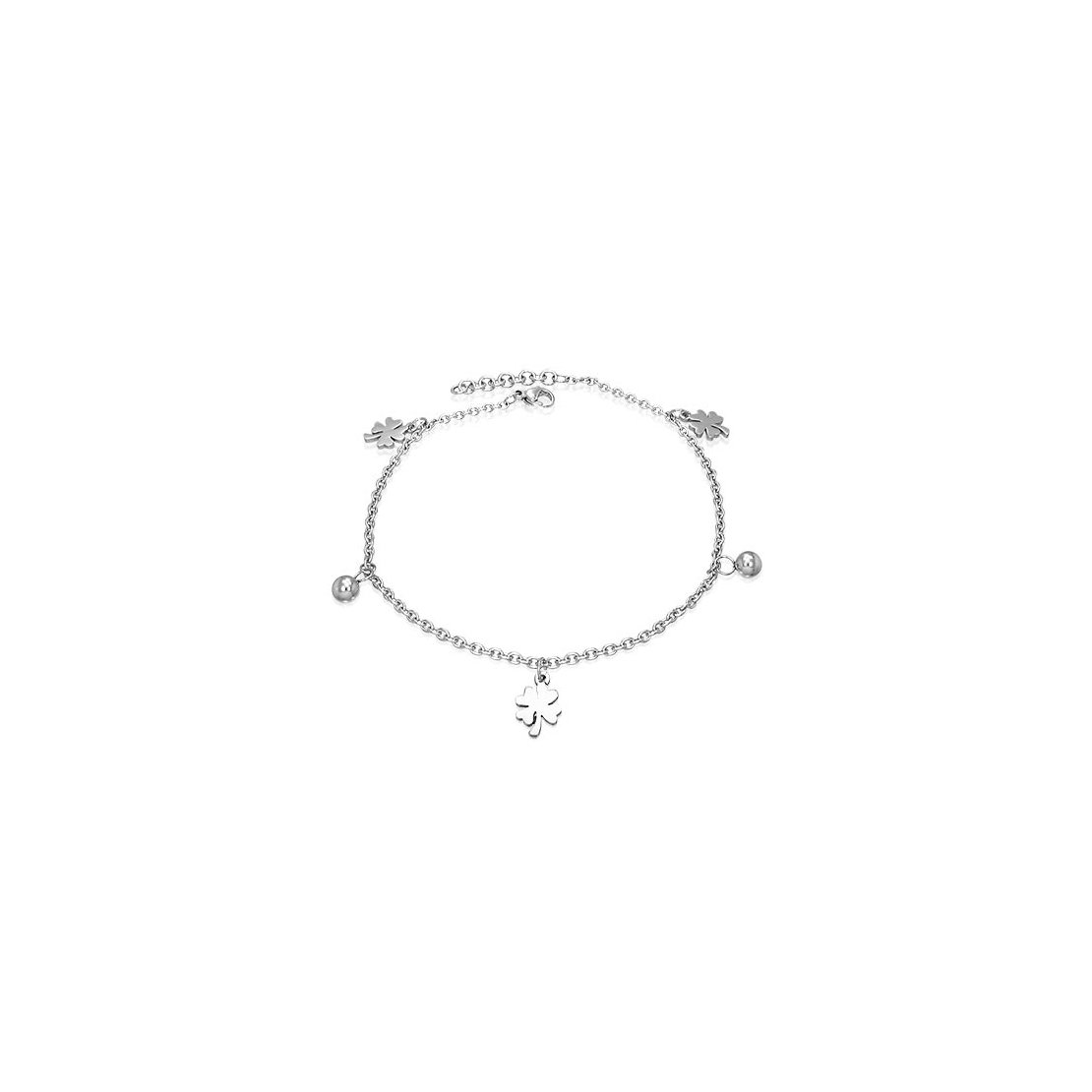 Stainless Steel Love Heart Shamrock Flower Ball Charm Anklet