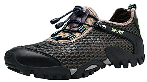 Louechy Men's Ponrea Mesh Hiking Shoes Water Shoes Breathable Outdoor Sneakers Walking Shoe 8302-45 Green