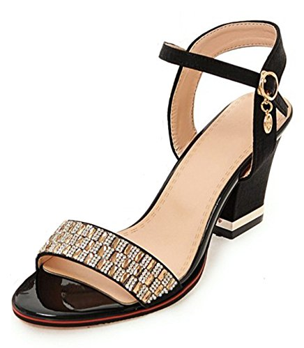 Mofri Women's Sexy Rhinestone Peep Toe Bridal Shoes with Ankle Strap High Block Heel Sandals (Black, 4 B(M) US) ()