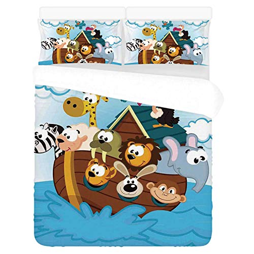 Noahs Ark Comfortable 3 Piece Bedding Set,Noahs Ark with Cute Animals Seafaring Comic Style Adventurous Artwork Print for Home,Duvet Cover:86