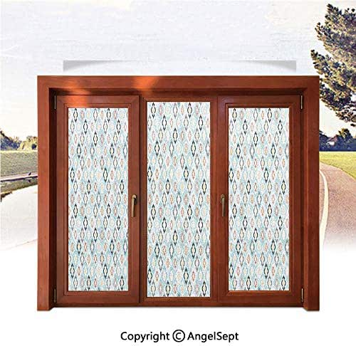 RWNFA 3D Printed Non Adhesive Home Office Window Film,Vintage Ottoman Floral Design with Old Fashion Heraldic Tiles Artistic Image 17.7