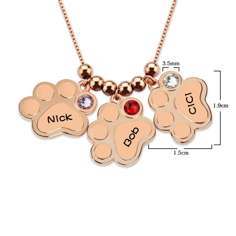 brcx 925 Sterling Silver Personalized Birthstone Name Necklace Custom Made with 3 Names