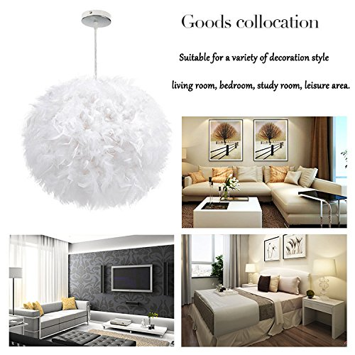 White Feather Ceiling Pendant Light Shade, Large Size 16 Inch Simple Luxury White Feather Ball E27 Lampshade Floor Lamp Decorative Droplight Shade for Living Room Bedroom by LOVFASHION (Image #7)