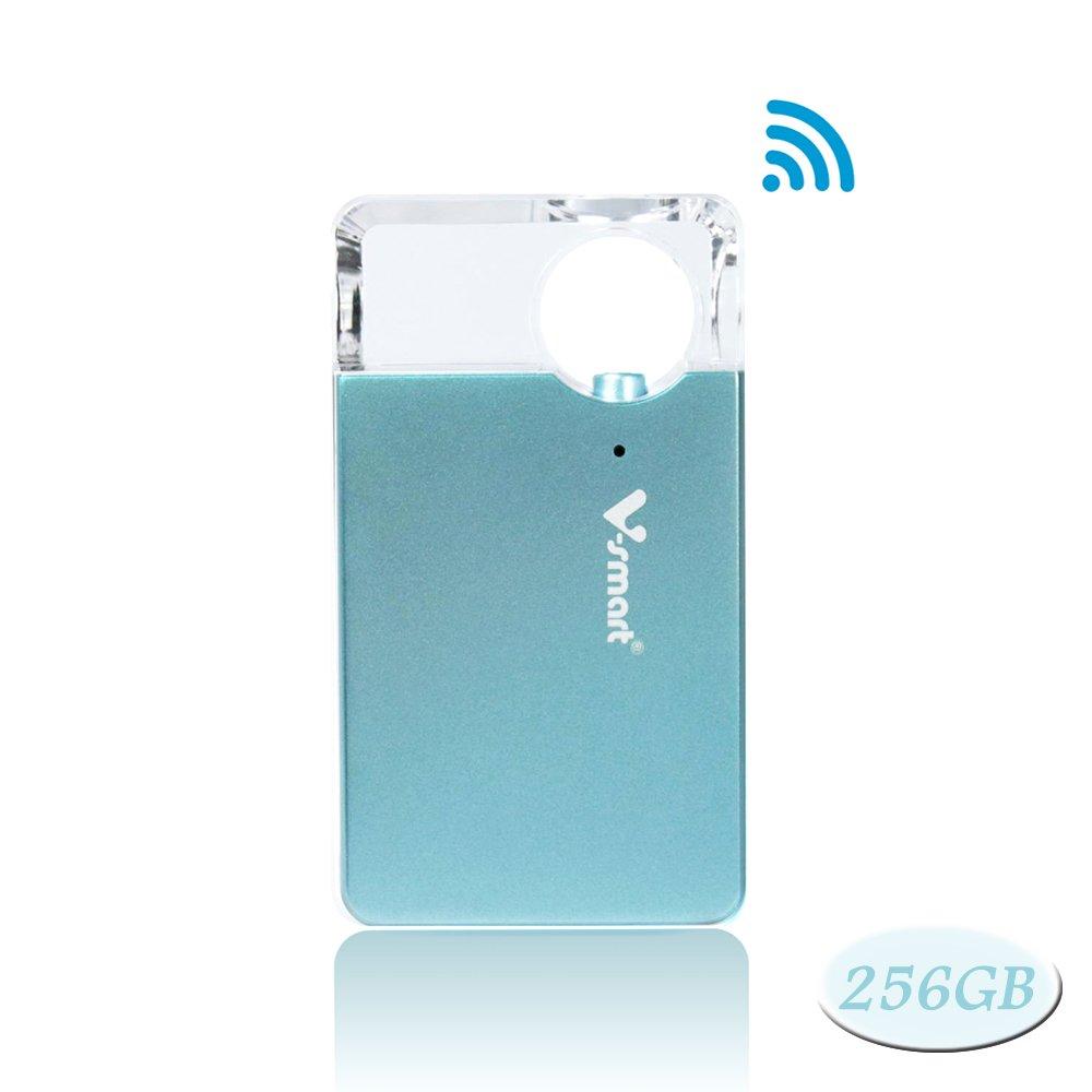 V-smart FD100 CrystalDisk Wireless Flash Drive | 5G WI-FI Super Fast Speed Universal Media Storage Drive for Smartphone, Tablet, Computer (256GB, Metallic Blue)