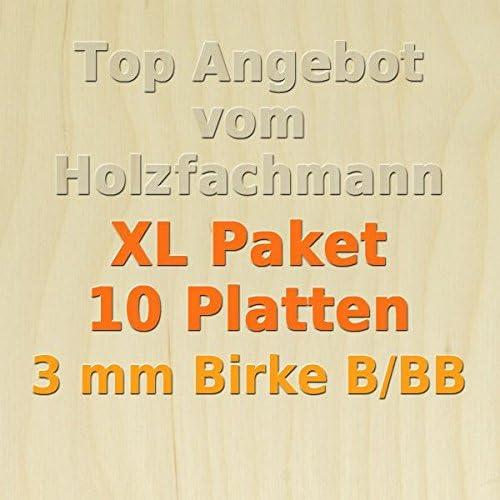 GP 14,73 /€//m/² 76 x 50cm XL Paket 10 Platten 3mm Birke Sperrholzplatte Qualit/ät B//BB