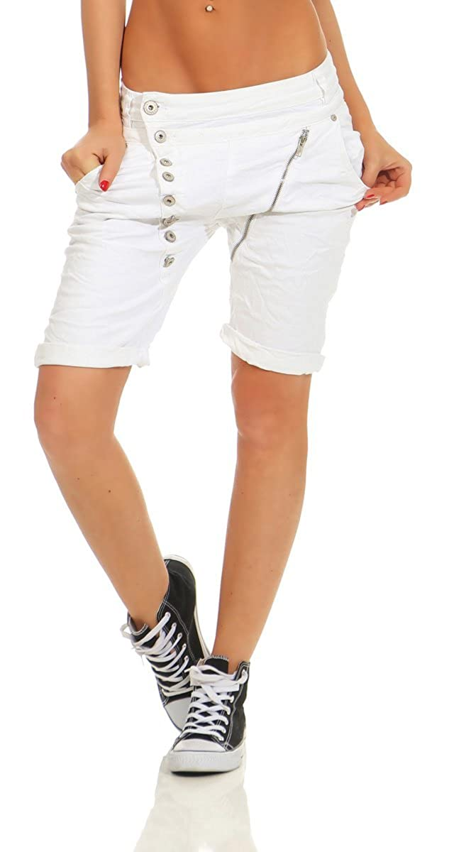 3eafbd70067a19 Fashion4Young 11509 Mozzaar Damen Jeans Bermuda Hose Boyfriend Denim Shorts  Slimline Knopfleiste Zipper Slim-Fit: Amazon.de: Bekleidung