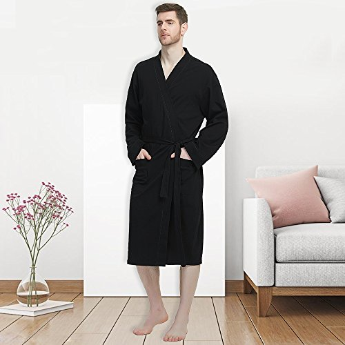 M&M Mymoon Men's Kimono Robe Long Comfy Bathrobe Cotton Loungewear Spa Cloth Robe (Black, L/XL) by M&M Mymoon (Image #6)