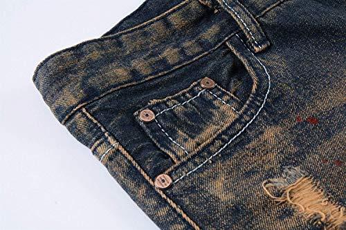 Elasticizzati Jeans Splashink A Fashion Pantaloni Media Fori Da Uomo Strappati Fit Dritti Slim Vita BUUCadxqnw