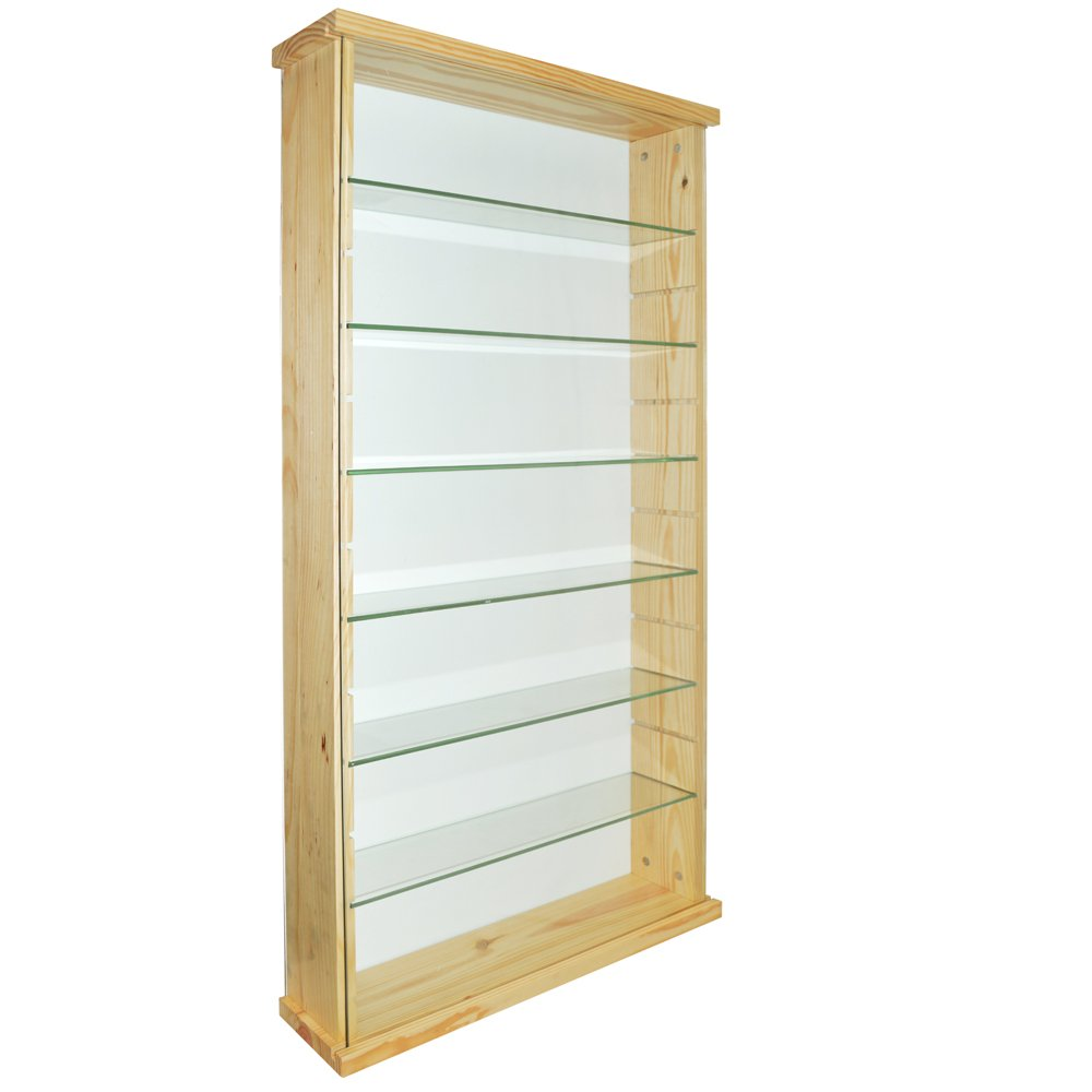 WATSONS EXHIBIT - Solid Wood 6 Shelf Glass Wall Display Cabinet - Pine