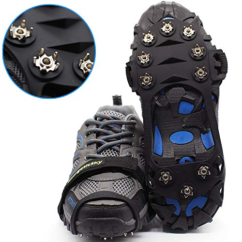 Hapshop Ice Cleats Crampons Traction Cleats Ice Snow Grips with 10 Stainless Steel Spikes Safe Protect for Hiking Fishing Walking Climbing Jogging Mountaineering(Black-S)
