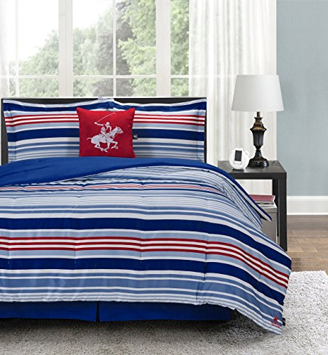 Beverly Hills Polo Club Luxury Soft Microfiber Comforter Set, Full, Blue Stripe, 5 Piece