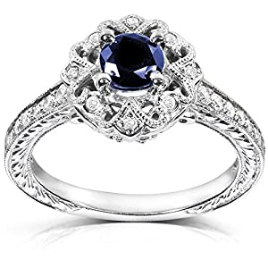 Antique Round cut Sapphire and Diamond Engagement Ring 3/4 Carat (ctw) in 14k White Gold