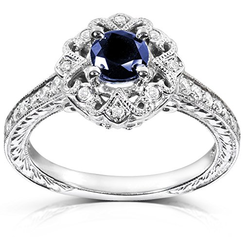 Antique Round-cut Sapphire and Diamond Engagement Ring 3/4 Carat (ctw) in 14k White Gold