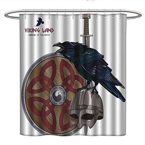 Anniutwo Vikingcloth Shower curtainRaven on Steel Helmet Nordic Sword Shield Scandinavian Army Medieval ArmourCurved Shower Curtain rodDark Blue Grey and Caramel