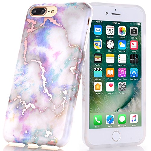 Iphone 8 Plus Case  Shiny Rose Gold White Marble Design  Baisrke Clear Bumper Matte Tpu Soft Rubber Silicone Cover Phone Case For Iphone 7 Plus   Iphone 8 Plus  Colorful