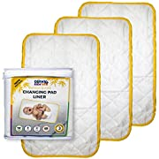 3 Extra Large Diaper Changing Pad Liners Soft Quilted Non-Slip Waterproof Soft Bamboo Changing Table Liners to Protect Your Baby and All of the Surfaces You Change Diapers On by Comfy Baby Time