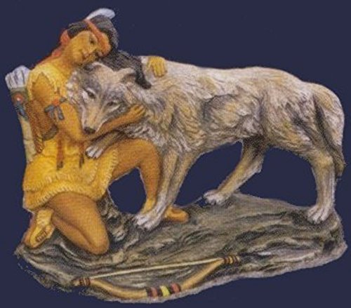 Native Princess hugging Wolf 8 x 10 Ceramic Bisque Ready To Paint