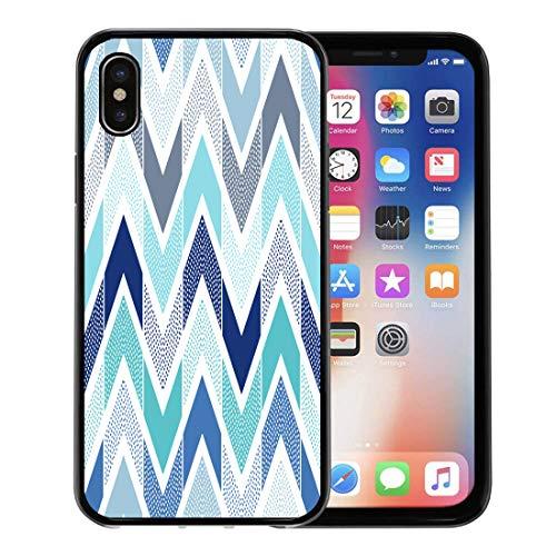 or Apple iPhone Xs case,Blue Geometric Doodle Dots Chevron Tiles Pattern Navy Fun Aqua Playful for iPhone X Case,Rubber Border Protective Case,Black ()