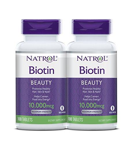 - Natrol Biotin Maximum Strength Tablets, 10,000mcg , 100 Count (pack of 2) ( Pack May Vary )