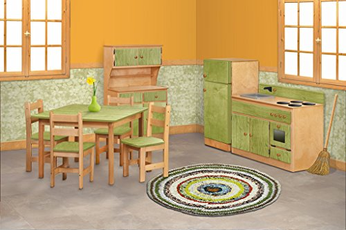Children's Sink-Stove, Hutch, Fridge, Table and Chairs Set -Heartland Collection - Natural and Ornage Color Amish Bedroom Hutch