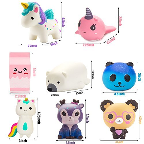 BeYumi Slow Rising Toy, Unicorn, Panda, Deer, Cat Squishy Toy, Kawaii Jumbo 10 Pcs Cream Scented Simulation Cute Animal & Food Squeeze Toys for Collection Gift, Decorative props Large or Stress Relief by BeYumi (Image #5)