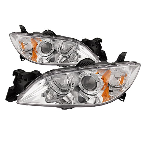 (PERDE Chrome Headlights Set Compatible with Mazda 3 Sedan New Halogen Projector)