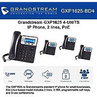 Grandstream GXP1625, 2 SIP acct., SMB IP Phone, Multi-language PoE Bundle of 4