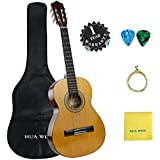 """Classical Guitar set HUA WIND 39"""" inch 4/4 Full Size Starter Classical Acoustic Guitar with Gig bag,Picks, Strings, Polishing Cloth (Full Size)"""