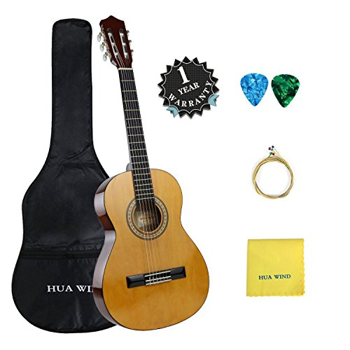 Classical Guitar set HUA WIND 39' inch 4/4 Full Size Starter Classical Acoustic Guitar with Gig bag,Picks, Strings, Polishing Cloth (Full Size)