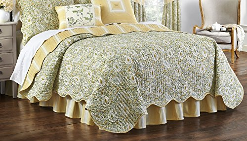 Waverly 15546BEDDTWNSPR Paisley Verveine 86-Inch by 68-inch Twin Reversible Quilt Collection, Spring by Waverly