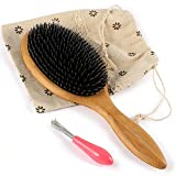 BESTOOL Hair Brush-Wild Boar Bristle Hair Brushes Natural Bamboo Wooden Cushion Massage Anti Static Large Paddle Hairbrush for Women Men and Kid (Round)
